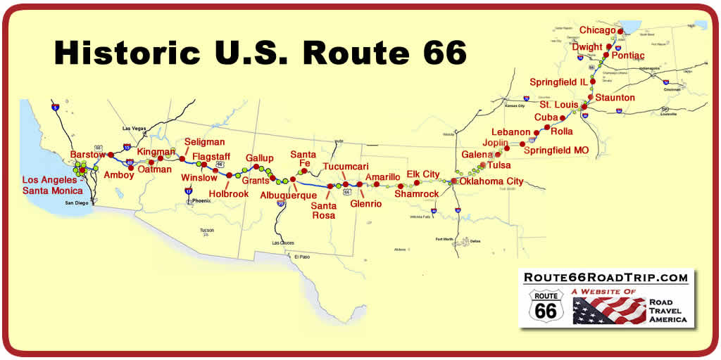 Map Of America Showing Chicago.Route 66 Maps In Each State Route 66 Segment Maps Route 66 City Maps