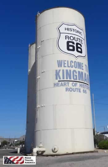 The famous Route 66 water tower in Kingman, Arizona