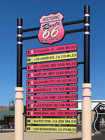Historic Route 66 mileage chart from Kingman, Arizona