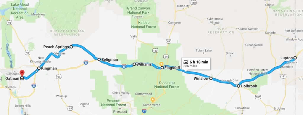 Map showing Route 66 across Arizona from Holbrook to Oatman