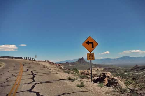 Steep, banking curve on Route 66