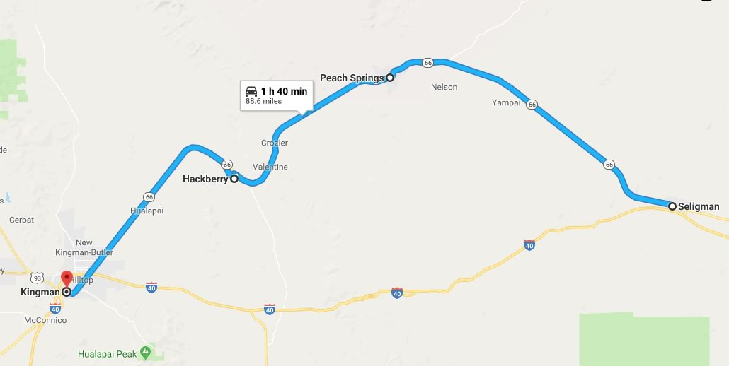 Map Of Old Route 66 Arizona.Historic U S Route 66 From Seligman To Kingman Arizona With Road
