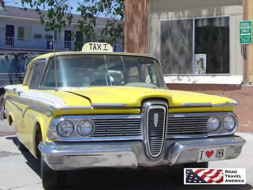 The famous yellow Edsel taxi, Historic Route 66 in Arizona