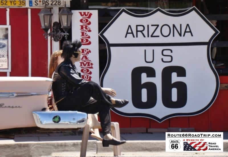Elvis and friend on a break on Historic Route 66 in Seligman, Arizona