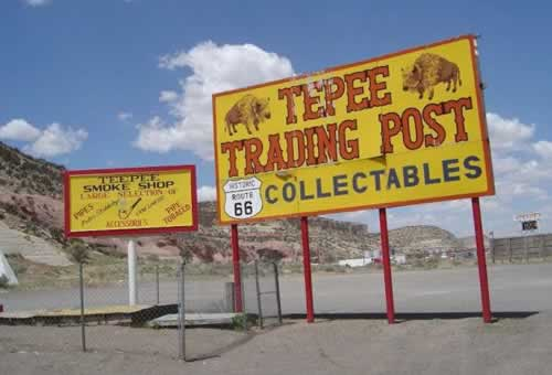 The Tepee Trading Post, near the New Mexico - Arizona state line on present-day I-40