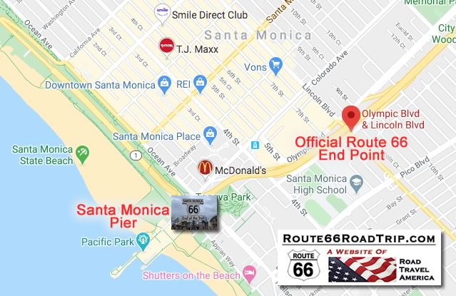 "Map showing the ""official"" and ""unofficial"" ending points of Route 66 in Santa Monica, California"