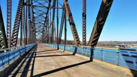 The historic Chain of Rocks Bridge spanning the Mississippi River on the north edge of St. Louis, Missouri