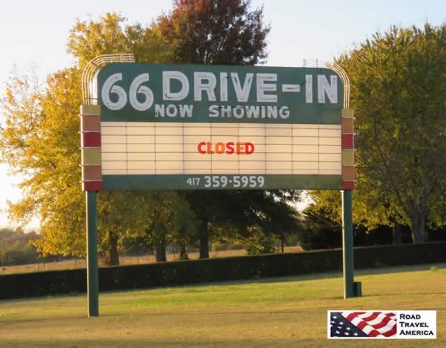 Neon sign at the 66 Drive-In Theater, Carthage, Missouri