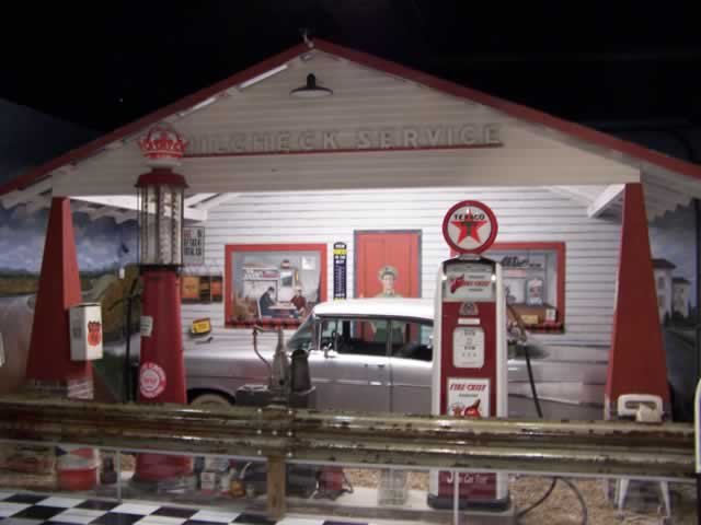 Texaco gas station display inside the Route 66 Museum in Lebanon, Missouri