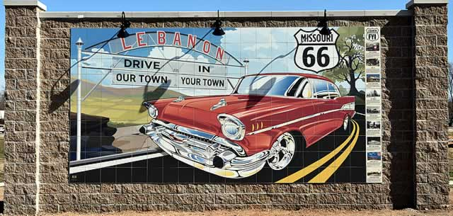 "Route 66 mural with a 1957 Chevrolet, in Lebanon, Missouri ... ""Drive our town"""