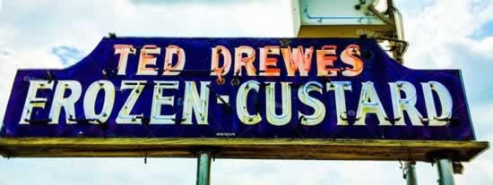 The classic neon sign at Ted Drewes Frozen Custard in St. Louis, Missouri