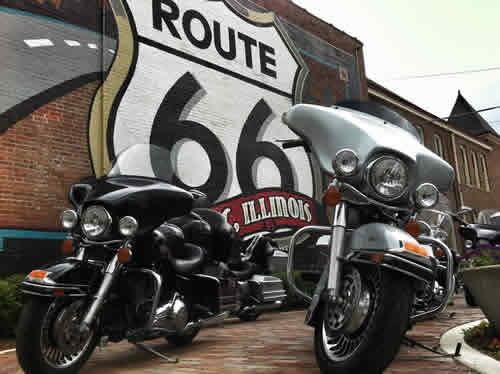 Motorcycle riders stopping at the Illinois Route 66 Hall of Fame and Museum, Pontiac, Illinois
