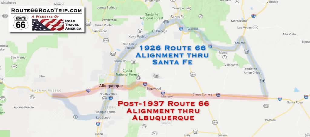 Map of U.S. Route 66 alignment in central New Mexico in 1926 and post-1937