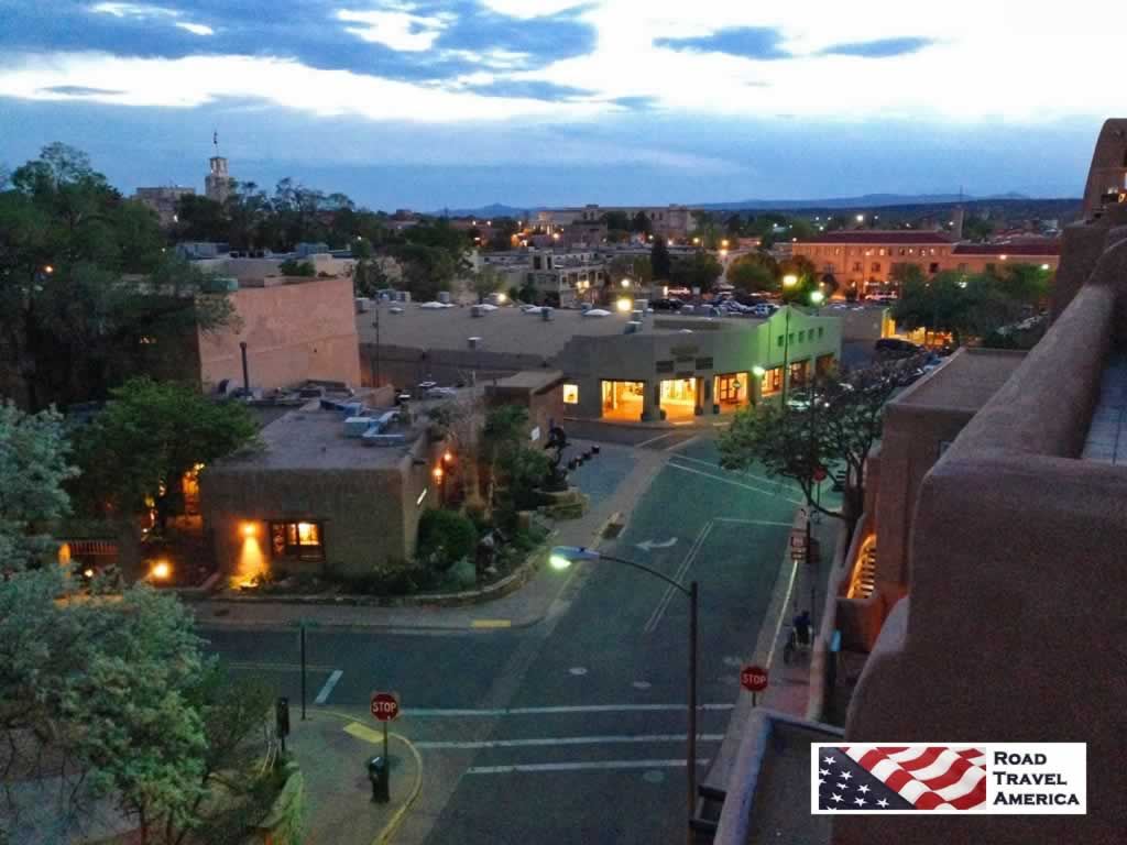 Nightime view of Santa Fe looking west from La Fonda on the Plaza