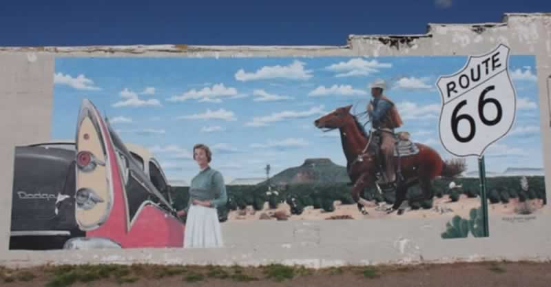 "The ""Dodge and Cowboy"" mural in Tucumcari, New Mexico"