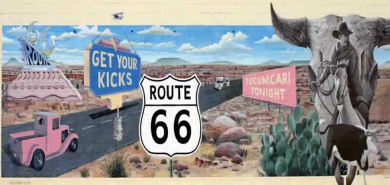 "The ""Get Your Kicks on Route 66"" mural in Tucumcari, New Mexico"