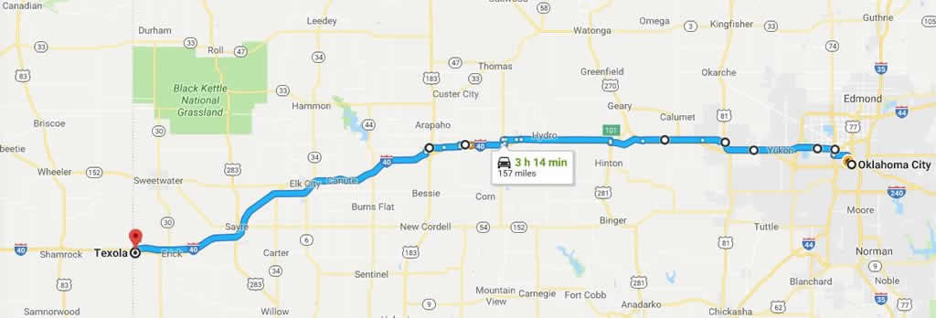 Road trip planner for a Historic Route 66 road trip from Okalahoma Drive Route Map on