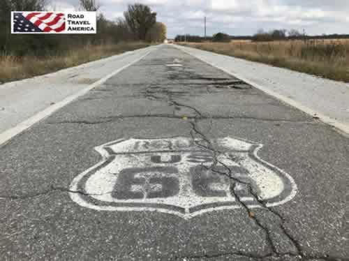 "Section of Old Route 66 9-foot wide ""Ribbon Road"" still visible near Miami, Oklahoma"