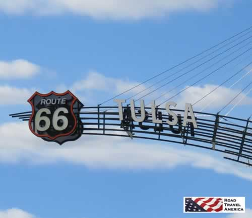 Route 66 sign at the east side of Tulsa, Oklahoma, seen during a November, 2018 road trip