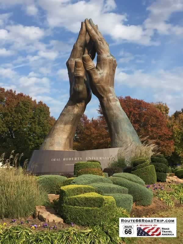 The Healing Hands sculpture, on the campus of Oral Roberts Univeristy in Tulsa Oklahoma