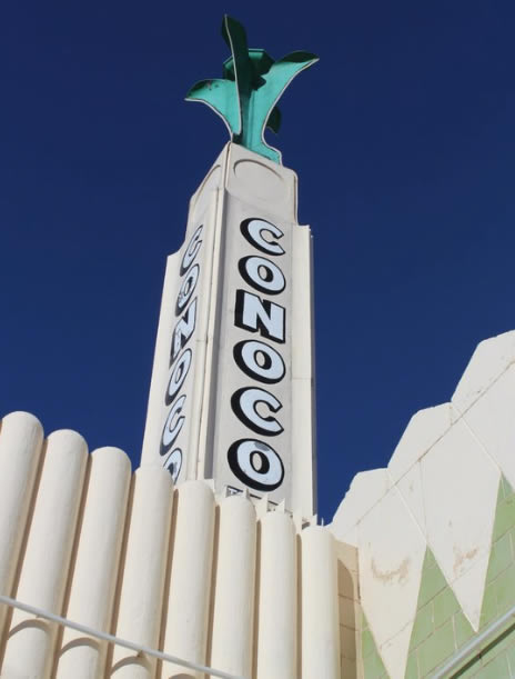 The Conoco tower against a brilliant blue Texas sky in Shamrock