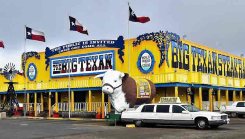 The famous Big Texan in Amarillo, Texas, home of the 72 oz steak!