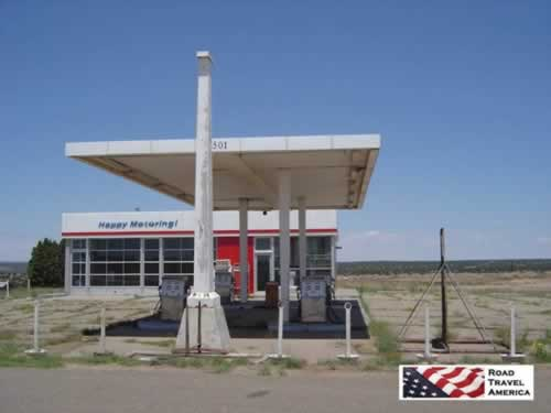 Happy Motoring! Abandoned ESSO service station at Glenrio, Texas on Historic Route 66