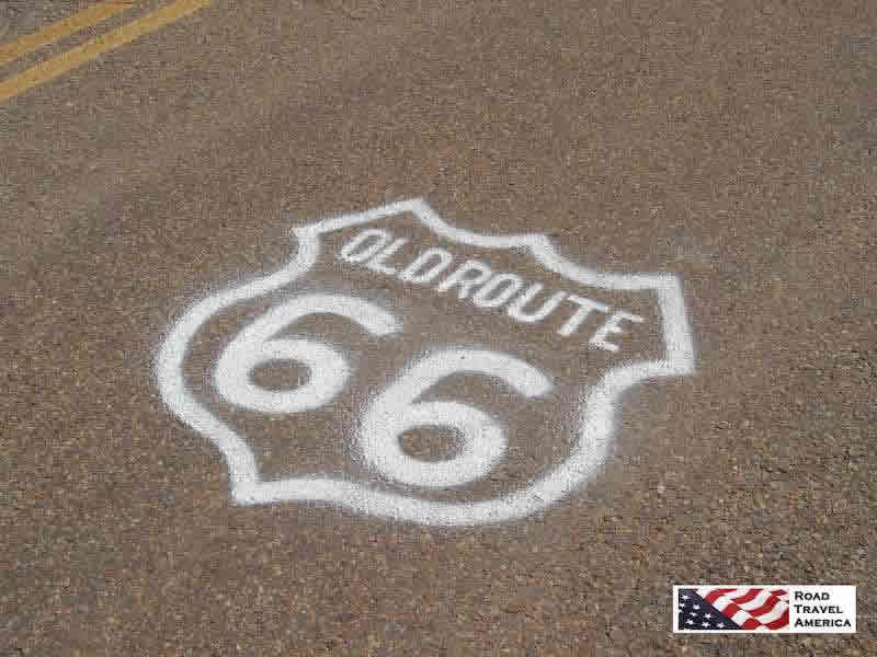 Old Route 66 logo painted on pavement