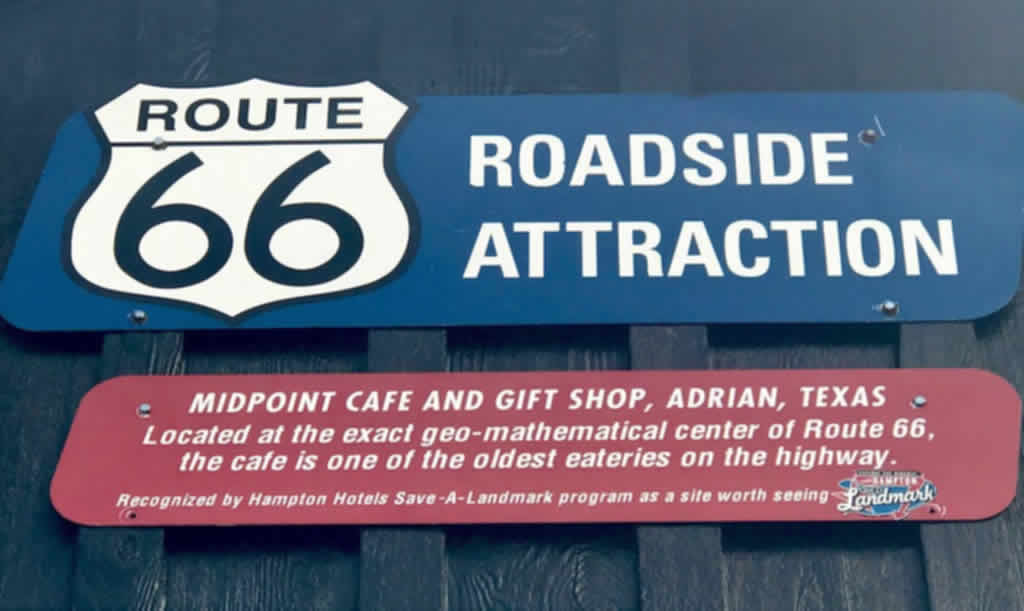 Route 66 Roadside Attraction: Midpoint Cafe and Gift Shop, Adrian, Texas