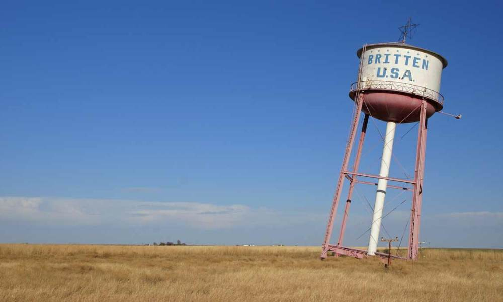 The leaning Britten USA water tower near Groom, Texas