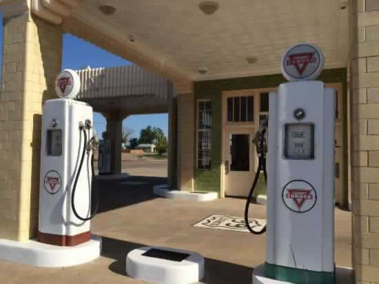 Conoco gas pumps at Tower Plaza in Shamrock, Texas