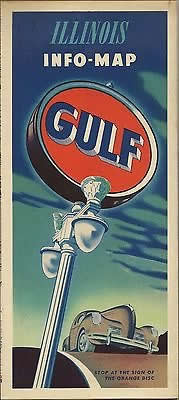 Illinois travel map from the Gulf Oil Company