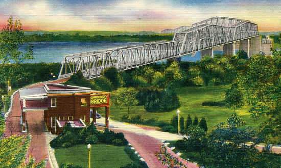 Vintage view of the Chain of Rocks Bridge spanning the Mississippi River at St. Louis, Missouri