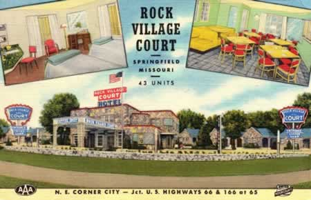 Vintage Postcard: Rock Village Court, Springfield, Missouri, on Historic Route 66