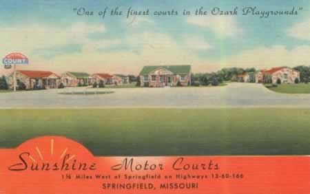 Vintage Postcard: Sunshine Motor Courts, Springfield, Missouri, on Historic Route 66