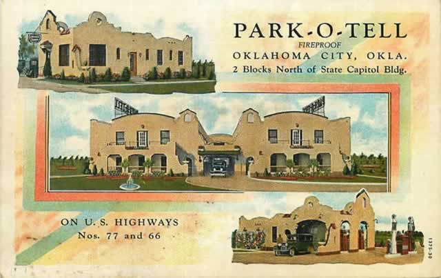 Park-O-Tell, 2 blocks north of the State Capitol Building, on Highway 66, Oklahoma City, Oklahoma