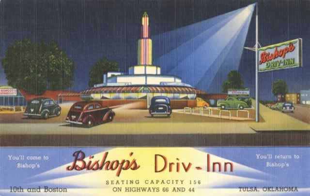 Bishop's Driv-In, 10th and Boston Streets, on Highway 66, Tulsa, Oklahoma
