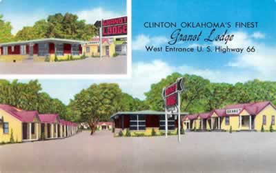 Granot Lodge ... Clinton Oklahoma's Finest ... West Entrance, U.S. Highway 66