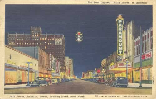 "Polk Street, Amarillo, Texas, Looking North from Ninth ... ""The Best Lighted Main Street in America"""
